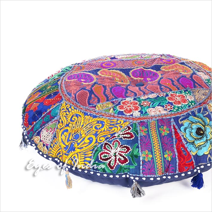 Blue Round Colorful Decorative Seating Bohemian Throw Floor Meditation Cushion Pillow Cover - 40""