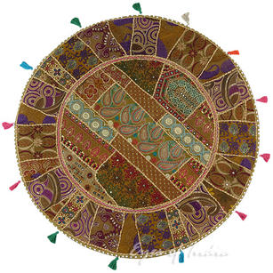 """Brown Round Decorative Seating Boho Bohemian Throw Colorful Floor Meditation Cushion Pillow Cover - 40"""""""