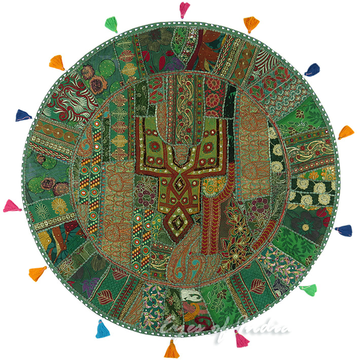 """Green Boho Patchwork Round Decorative Seating Colorful Floor Meditation Pillow Cushion Cover - 40"""""""
