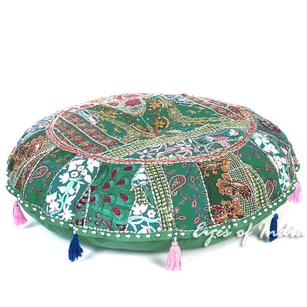 Green Boho Patchwork Round Decorative Seating Colorful Floor Meditation Pillow Cushion Cover - 40""