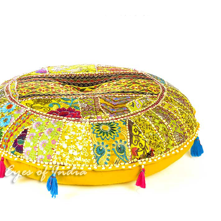 Yellow Round Decorative Seating Boho Bohemian Throw Colorful Floor Cushion Meditation Pillow Cover - 40""