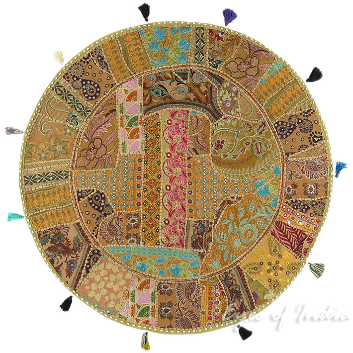 Light Brown Round Decorative Seating Bohemian Floor Cushion Boho Meditation Pillow Cover - 40""
