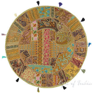 Light Brown Round Decorative Seating Bohemian Colorful Floor Cushion Boho Meditation Pillow Cover - 40""