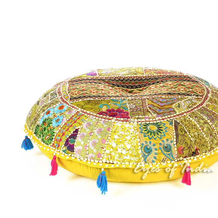 Bright Yellow Boho Patchwork Bohemian Round Floor Seating Meditation Pillow Cushion Throw Cover - 40""