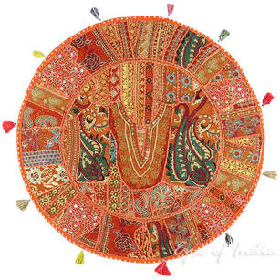 Orange Round Boho Bohemian Patchwork Colorful Floor Seating Meditation Pillow Throw Cushion Cover - 40""