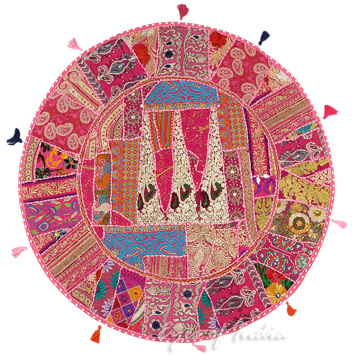 Pink Patchwork Round Boho Bohemian Throw Floor Seating Pillow Meditation Cushion Cover - 40""