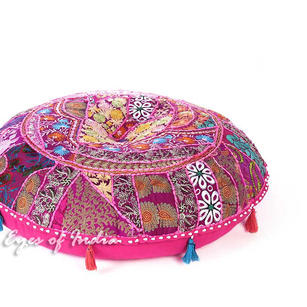 """Pink Patchwork Round Boho Bohemian Throw Colorful Floor Seating Pillow Meditation Cushion Cover - 40"""""""