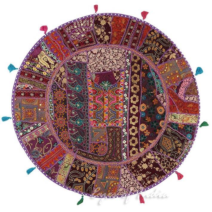Purple Bohemian Patchwork Round Boho Throw Colorful Floor Seating Pillow Meditation Cushion Cover - 40""