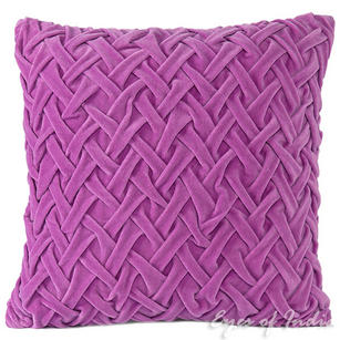 Velvet Braided Decorative Pillow Bohemian Boho Couch Cushion Throw Cover - 16""