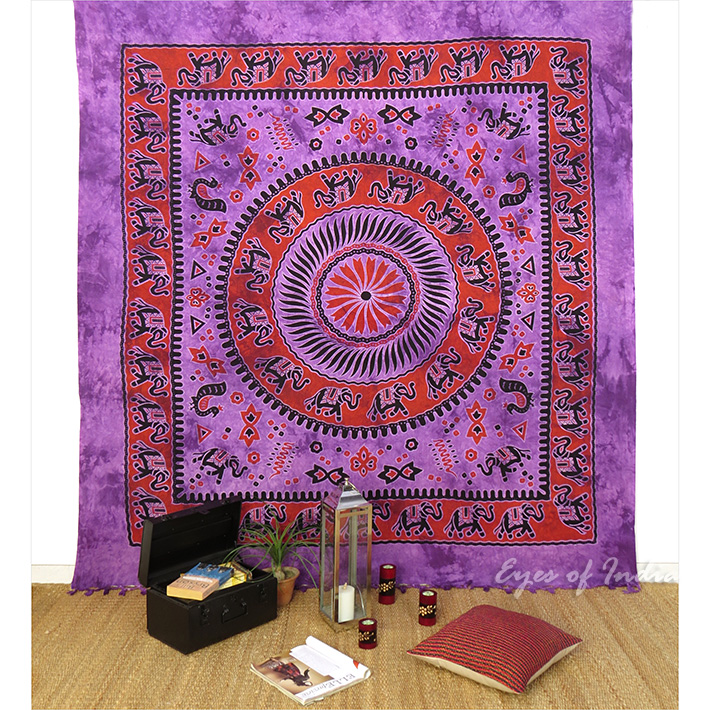 Mandala Boho Elephant Tapestry Bedspread Bohemian Wall Hanging - Large/Queen