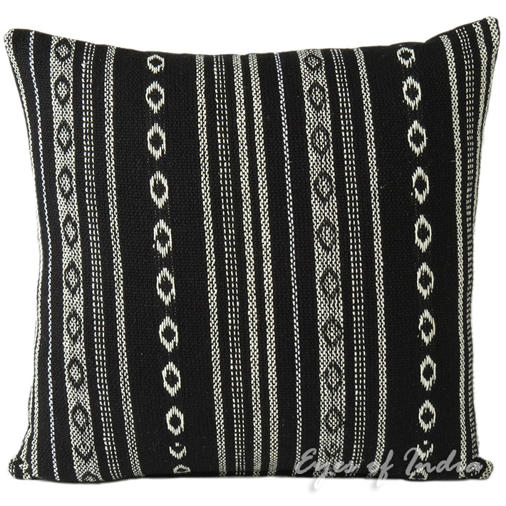 Black White Striped Dhurrie Colorful Decorative Couch Cushion Boho Sofa Throw Pillow Cover - 16, 24""