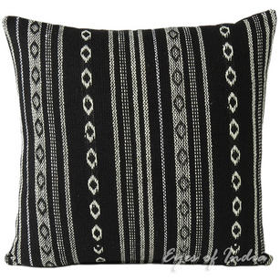 Black White Striped Bohemian Dhurrie Decorative Couch Cushion Boho Throw Pillow Cover - 16, 24""