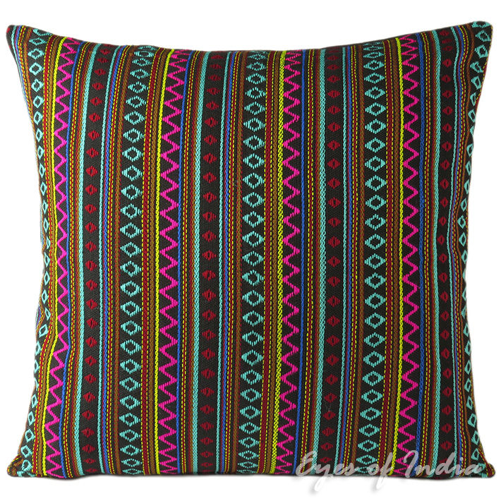 Black Striped Dhurrie Decorative Bohemian Boho Couch Cushion Throw Pillow  Cover - 16, 24