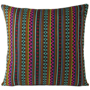 Black Pink Striped Dhurrie Colorful Decorative Boho Couch Cushion Sofa Throw Pillow Cover - 16, 24""
