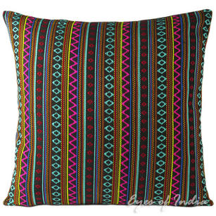 Black Pink Striped Dhurrie Colorful Decorative Bohemian Boho Couch Cushion Sofa Throw Pillow Cover - 16, 24""