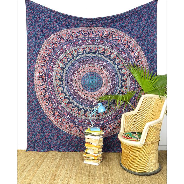 Hippie Mandala Elephant Tapestry Bohemian Bedspread Boho Wall Hanging - Large/Queen