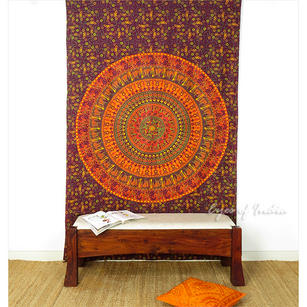 Hippie Mandala Elephant Tapestry Indian Boho Wall Hanging Bedspread - Twin/Single