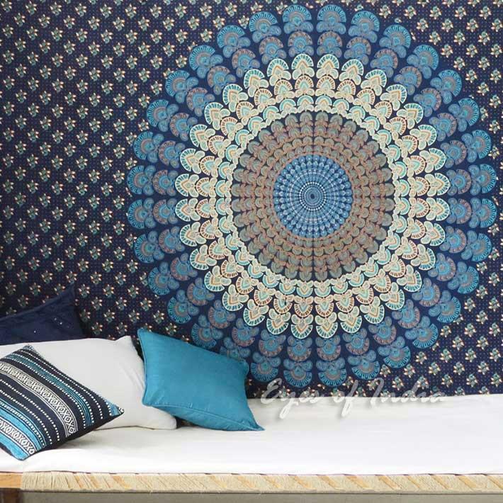 Boho Hippie Mandala Wall Hanging Bedspread Bohemian Elephant Tapestry - Twin/Single