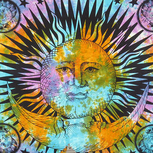 Colorful Tie Dye Hippie Sun and Moon Bohemian Boho Tapestry Hanging - Large/Queen