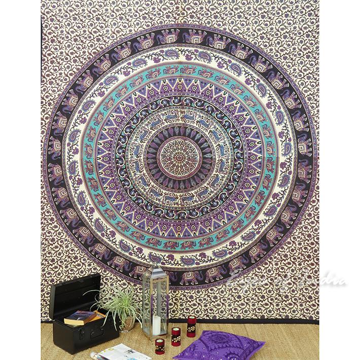 Mandala Hippie Elephant Bohemian Tapestry Wall Hanging Boho Bedspread - Large/Queen