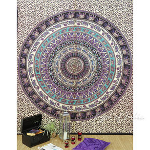 Mandala Hippie Elephant Bohemian Tapestry Wall Hanging Boho Bedspread - Large/Queen