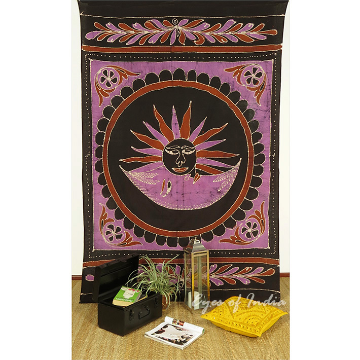 Batik Sun Moon Wall Hanging Bohemian Tapestry Hippie Bedspread - Small/Twin