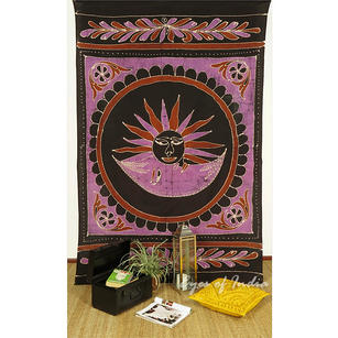 Batik Sun Moon Wall Hanging Bohemian Tapestry Hippie Bedspread - Small/Twin
