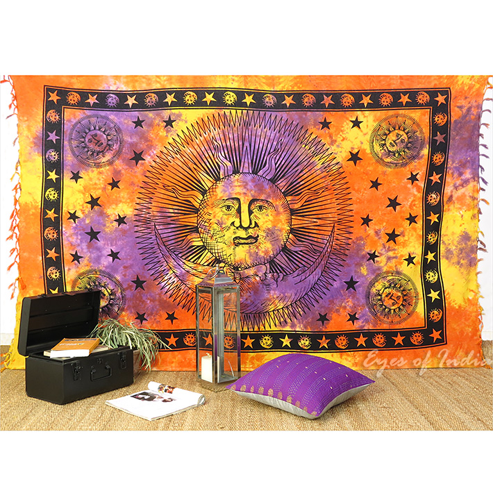 Colorful Tie Dye Sun and Moon Tapestry Bedspread Wall Hanging with Fringes - Twin/Single
