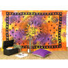 Colorful Tie Dye Sun and Moon Tapestry Bedspread Wall Hanging with Fringes - Twin/Single 1