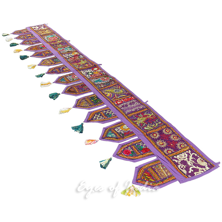 Purple Bohemian Embroidered Boho Door Window Valance Toran Wall hanging- 78""
