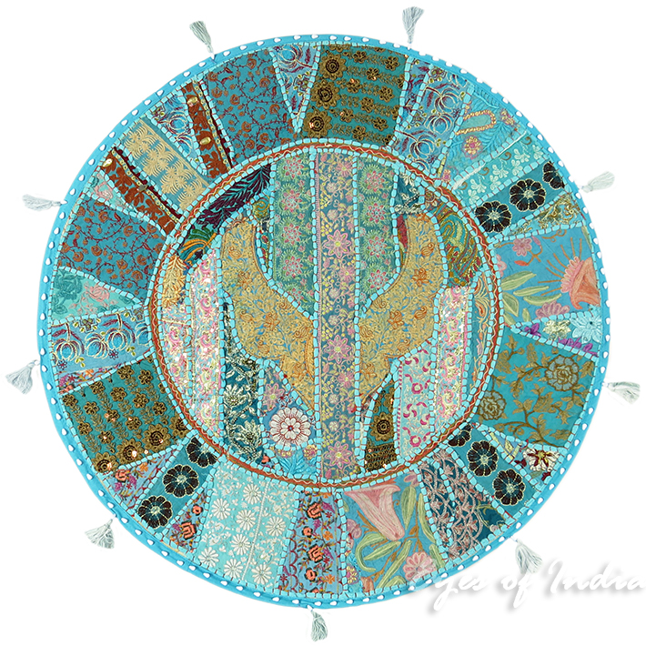 Light Blue Round Decorative Seating Colorful Floor Meditation Cushion Boho Pillow Throw Cover - 32""