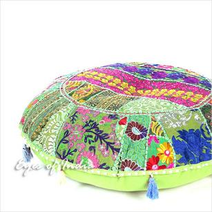 Light Green Boho Round Decorative Seating Colorful Floor Meditation Cushion Bohemian Pillow Cover - 32""