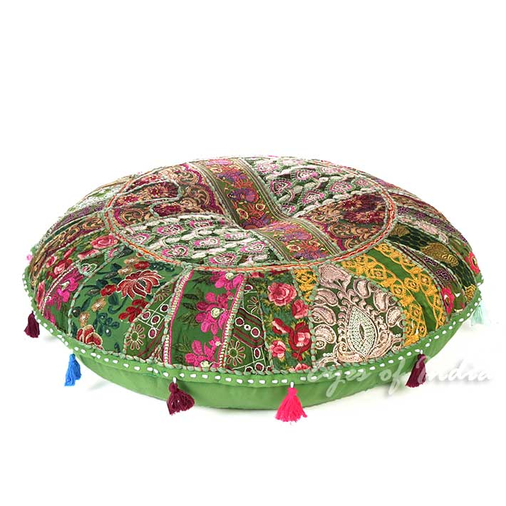 Olive Green Boho Patchwork Round Colorful Floor Seating Meditation Pillow Cushion Throw Cover - 32""