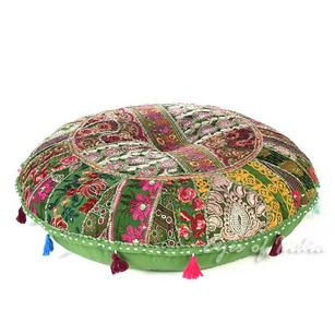 Olive Green Boho Patchwork Bohemian Round Colorful Floor Seating Meditation Pillow Cushion Throw Cover - 32""