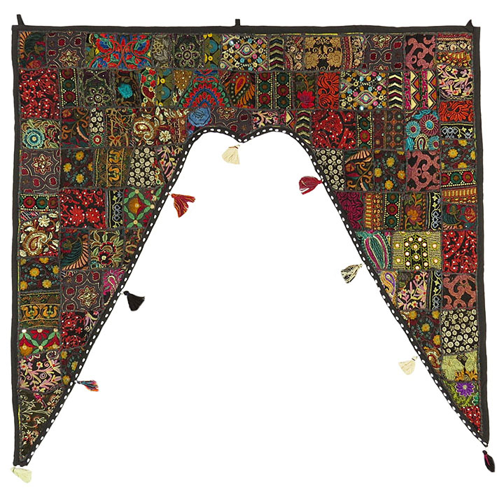 Black Patchwork Window Door Valance Boho Toran Bohemian Wall Hanging - 42 X 46""