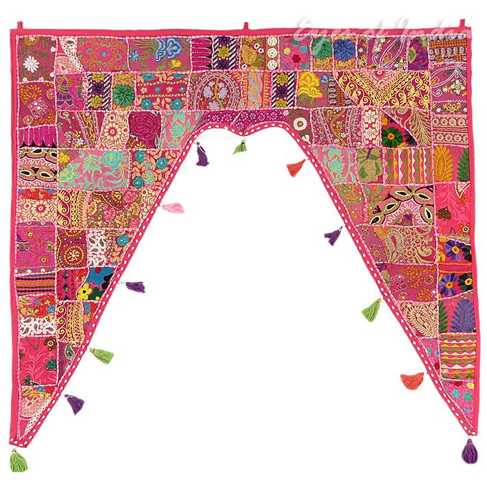 "Pink Bohemian Patchwork Boho Window Door Valance Toran Wall Hanging - 42 X 46"""