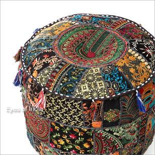 """Small Black Round Boho Bohemian Ottoman Pouf Pouffe Cover - 22 X 12"""""""