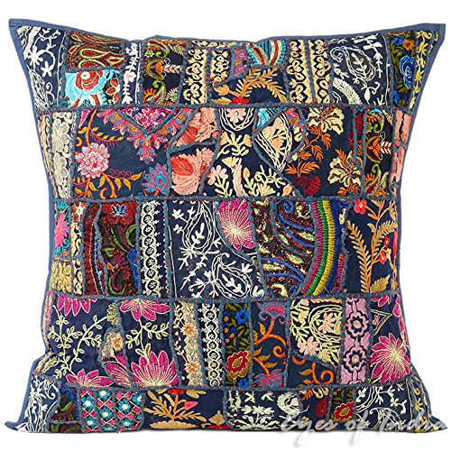 Blue Patchwork Bohemian Throw Pillow Boho Couch Sofa Cushion Cover - 16""