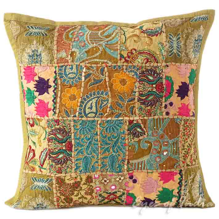 Brown Patchwork Decorative Boho Throw Pillow Bohemian Couch Cushion Cover - 16""