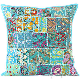 Light Blue Patchwork Decorative Bohemian Pillow Couch Cushion Throw Cover - 20""