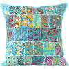 "Light Blue Patchwork Colorful Decorative Bohemian Pillow Couch Cushion Sofa Throw Cover - 20"" 1"
