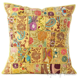 Light Brown Patchwork Colorful Decorative Boho Bohemian Sofa Throw Couch Pillow Cushion Cover - 20""