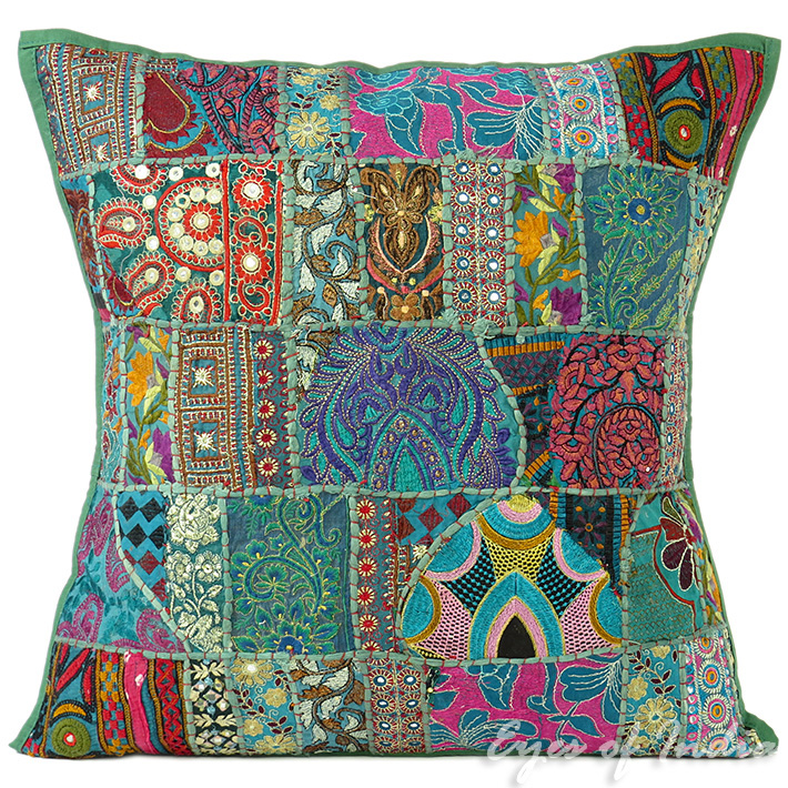 Green Patchwork Colorful Decorative Bohemian Boho Pillow Couch Cushion Sofa Throw Cover - 24""