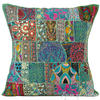 "Green Patchwork Colorful Decorative Bohemian Boho Pillow Couch Cushion Sofa Throw Cover - 24"" 1"