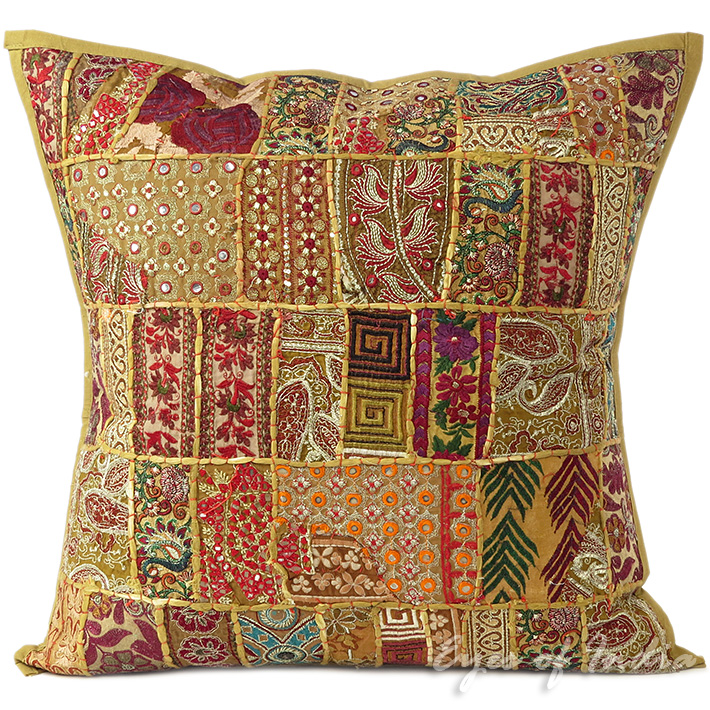 Light Brown Patchwork Colorful Decorative Bohemian Boho Sofa Throw Couch Pillow Cushion Cover - 24""