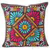 "Black Rajkoti Patchwork Colorful Decorative Bohemian Couch Pillow Cushion Sofa Throw Cover - 16"" 1"