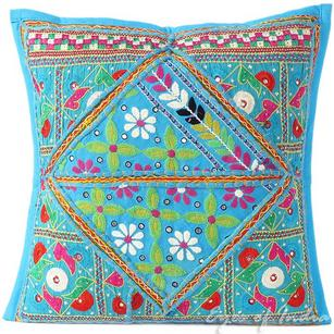 Blue Rajkoti Patchwork Colorful Decorative Bohemian Sofa Throw Pillow Couch Cushion Cover - 16""