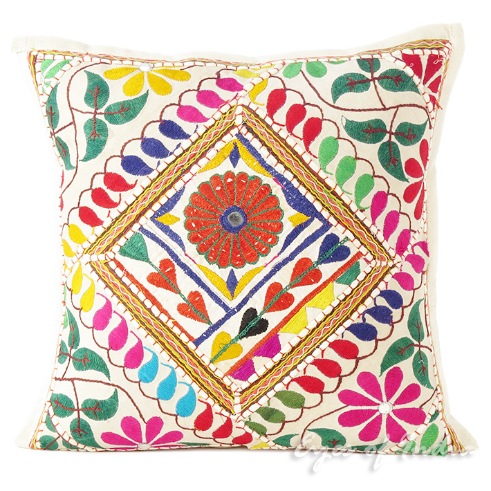 White Rajkoti Patchwork Decorative Throw Pillow Bohemian Boho Cushion Cover - 16""