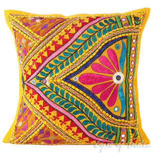 Yellow Rajkoti Bohemian Patchwork Throw Pillow Boho Couch Cushion Cover - 16""