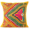 "Yellow Rajkoti Bohemian Patchwork Throw Pillow Boho Couch Cushion Cover - 16"" 1"